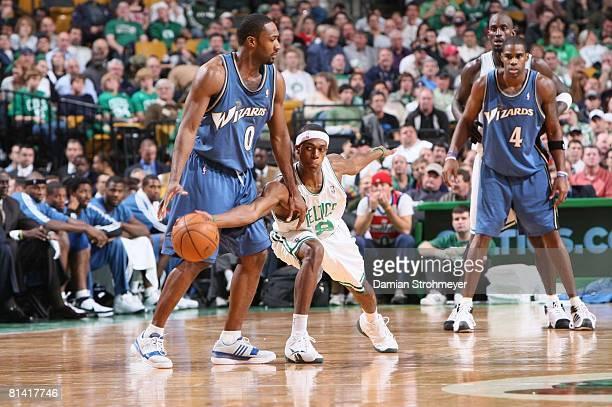 Basketball Boston Celtics Rajon Rondo in action attempting steal vs Washington Wizards Gilbert Arenas Boston MA 11/2/2007