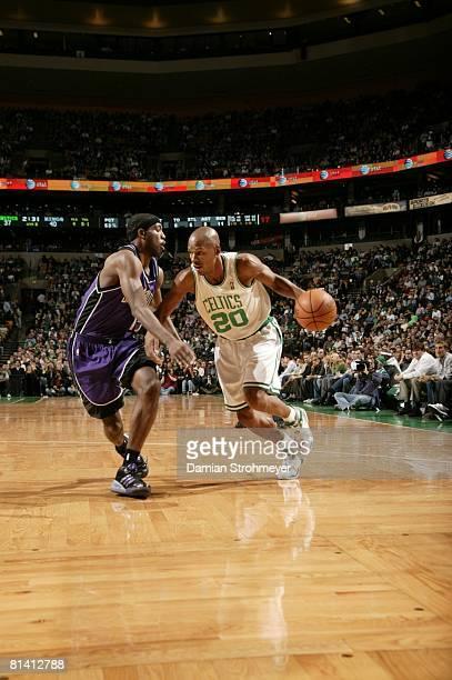 Basketball Boston Celtics Ray Allen in action vs Sacramento Kings John Salmons Boston MA
