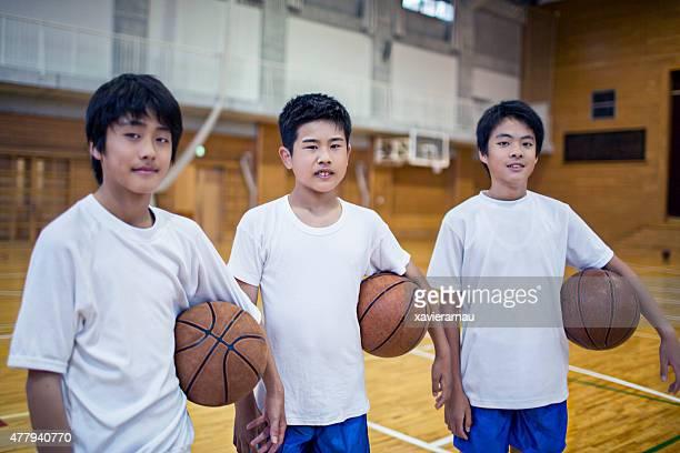 バスケットボールチームで男子、学校のジム