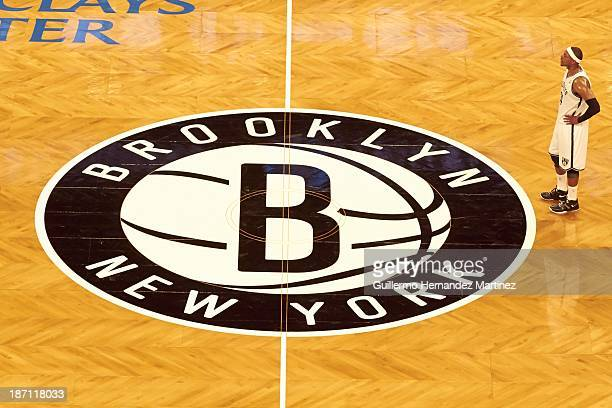 Brooklyn Nets Paul Pierce standing in front of logo at center court during preseason game vs Boston Celtics at Barclays Center Brooklyn NY CREDIT...