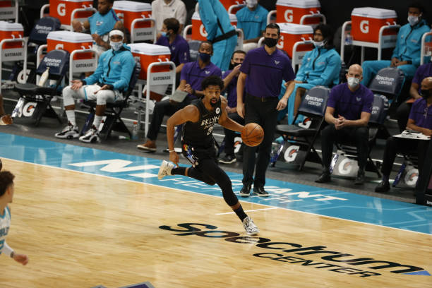 Brooklyn Nets Spencer Dinwiddie in action vs Charlotte Hornets at Spectrum Center. Charlotte, NC CREDIT: Chris Keane