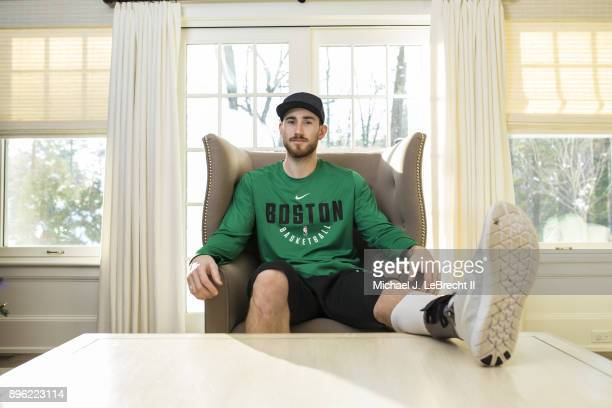 Casual portrait of Boston Celtics Gordon Hayward posing during photo shoot at home Hayward is recovering from a fractured left ankle injury suffered...