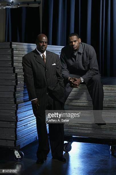 Basketball Casual portrait of Cleveland Cavaliers LeBron James with Agent Aaron Goodwin Cleveland OH 4/21/2004