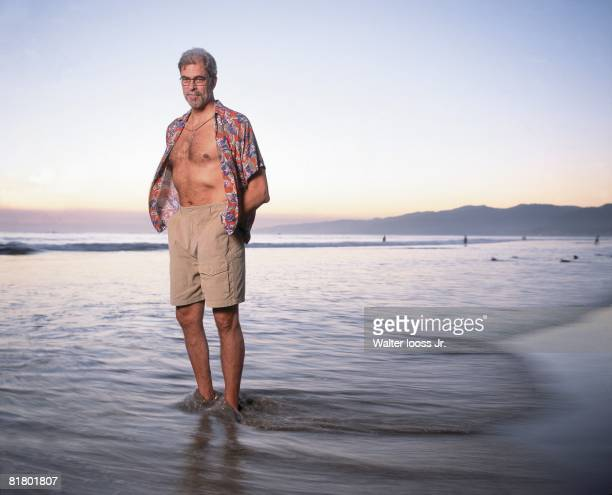 Basketball Casual portrait of Los Angeles Lakers coach Phil Jackson at beach Santa Monica CA 9/30/1999