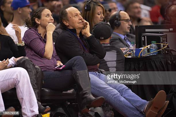 Celebrity actor Billy Crystal in stands during Miami Heat vs Los Angeles Clippers game at Staples Center Los Angeles CA CREDIT John W McDonough