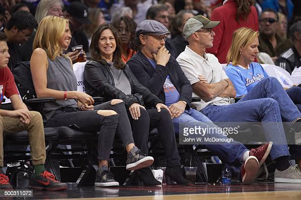 Celebrity actor Billy Crystal looks on from seat during Detroit Pistons vs Los Angeles Clippers game at Staples Center Los Angeles CA CREDIT John W...