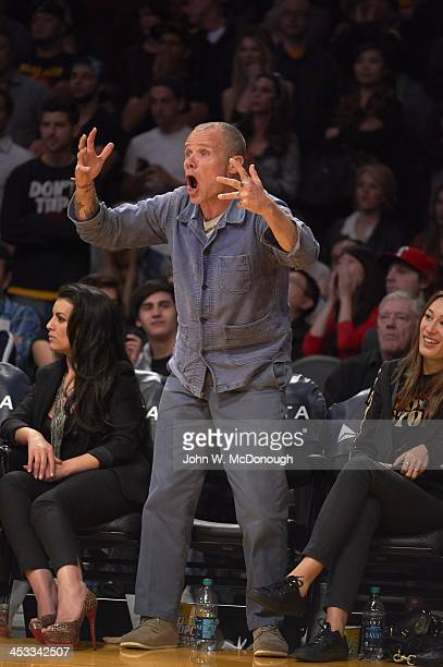 Celebrity musician and Los Angeles Lakers fan Flea courtside during game vs Portland Trail Blazers at Staples Center Los Angeles CA CREDIT John W...