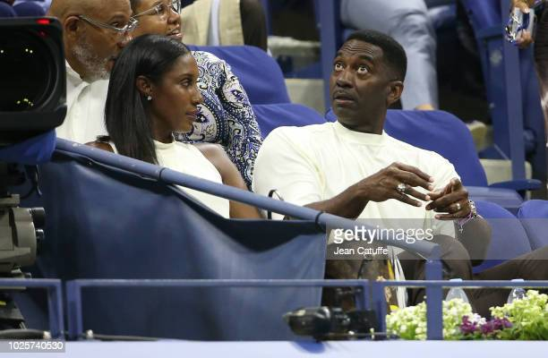 WNBA basketball champion Lisa Leslie and husband Michael Lockwood attend day 3 of the 2018 tennis US Open on Arthur Ashe stadium at the USTA Billie...
