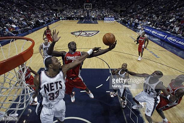 Basketball Charlotte Bobcats Emeka Okafor in action vs New Jersey Nets Alonzo Mourning East Rutherford NJ