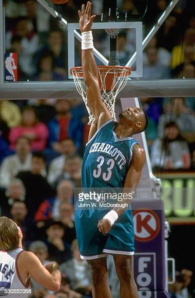 Charlotte Hornets Alonzo Mourning in action vs Phoenix Suns at America West Arena Phoenix AZ CREDIT John W McDonough