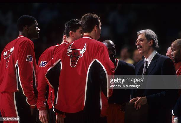 Chicago Bulls coach Phil Jackson in huddle during timeout with players during game vs Los Angeles Lakers at The Forum Inglewood CA CREDIT John W...