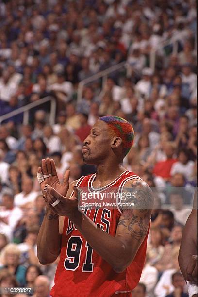 NBA Basketball Chicago Bulls Dennis Rodman during Game 4 of the NBA Finals against the Utah Jazz on June 8 at Delta Center in Salt Lake City The Jazz...