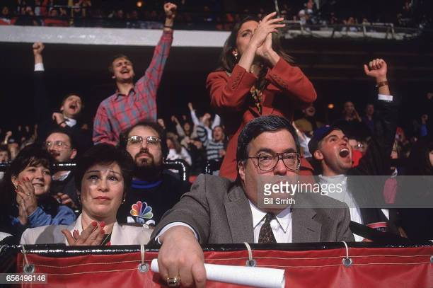 Chicago Bulls general manager Jerry Krause and wife Thelma watching game at the United Center Chicago IL CREDIT Bill Smith