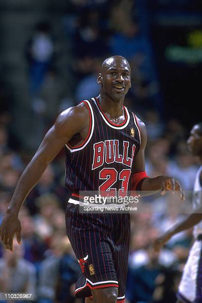 Basketball - Chicago Bulls guard Michael Jordan during a game against the Milwaukee Bucks on December 3, 1996 in Milwaukee. The Bulls won the game...
