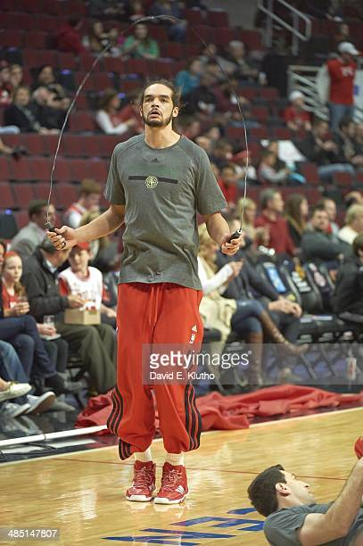 Chicago Bulls Joakim Noah jumping rope on court before game vs Milwaukee Bucks at United Center Chicago IL CREDIT David E Klutho