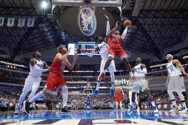 Chicago Bulls Kris Dunn in action vs Dallas Mavericks Nerlens Noel during preseason game at American Airlines Center Dallas TX CREDIT Greg Nelson