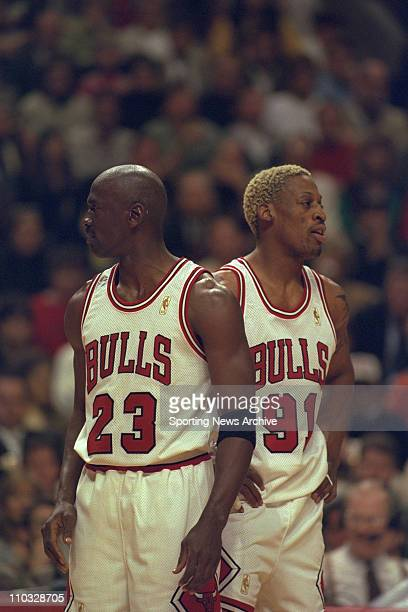 NBA Basketball Chicago Bulls Michael Jordan and Dennis Rodman during game one of the NBA Eastern Conference Finals on May 20 at United Center in...