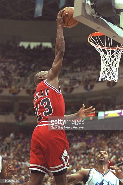 NBA Basketball Chicago Bulls Michael Jordan dunks against the Utah Jazz in Game 4 of the NBA Finals on June 8 at Delta Center in Salt Lake City The...