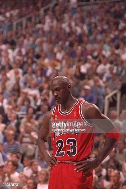 NBA Basketball Chicago Bulls Michael Jordan during Game 3 of the NBA Finals against the Utah Jazz on June 6 1997 at Delta Center in Salt Lake City...