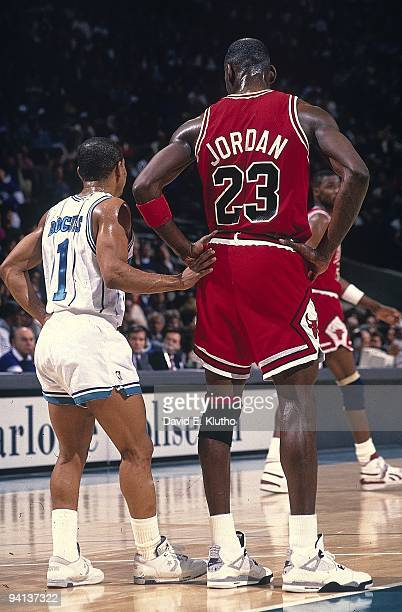 Chicago Bulls Michael Jordan during game vs Charlotte Hornets Muggsy Bogues Charlotte NC 2/22/1989 CREDIT David E Klutho