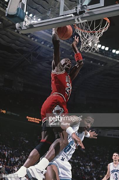Chicago Bulls Michael Jordan in action dunk vs Charlotte Hornets Charlotte NC 2/22/1989 CREDIT David E Klutho