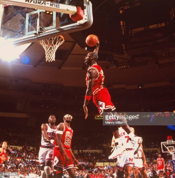 Chicago Bulls Michael Jordan in action making dunk vs New York Knicks New York NY 4/4/1991 CREDIT Manny Millan