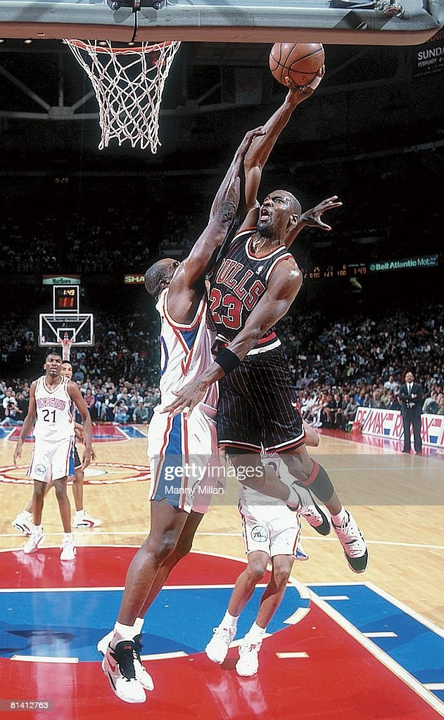 Chicago Bulls Michael Jordan 23 In Action Making Dunk Vs Philadelphia 76ers