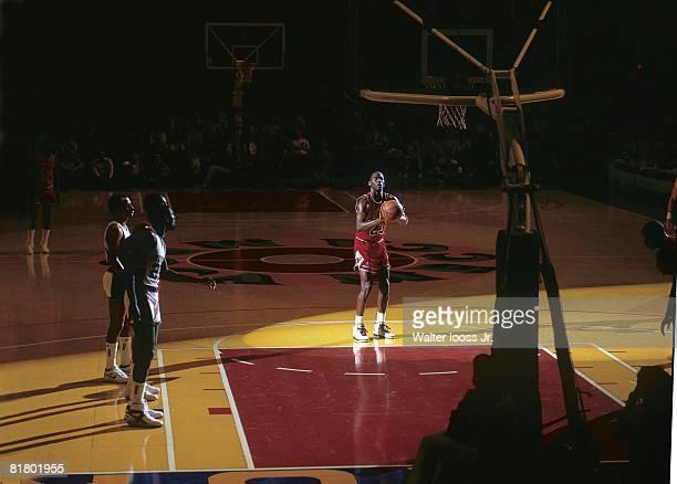 Basketball Chicago Bulls Michael Jordan in action taking foul shot vs Milwaukee Bucks Milwaukee WI 4/13/1987