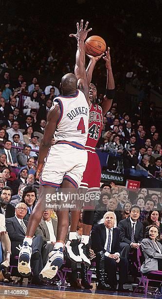 Basketball Chicago Bulls Michael Jordan in action taking shot vs New York Knicks Anthony Bonner New York NY 3/28/1995