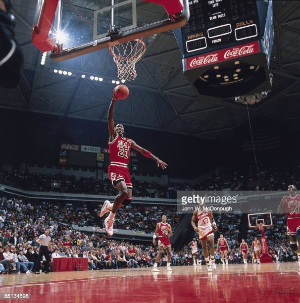 Chicago Bulls Michael Jordan in action vs Atlanta Hawks Chicago IL 2/25/1989 CREDIT John W McDonough