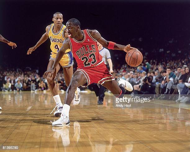 Basketball Chicago Bulls Michael Jordan in action vs Los Angeles Lakers Inglewood CA 2/4/1988