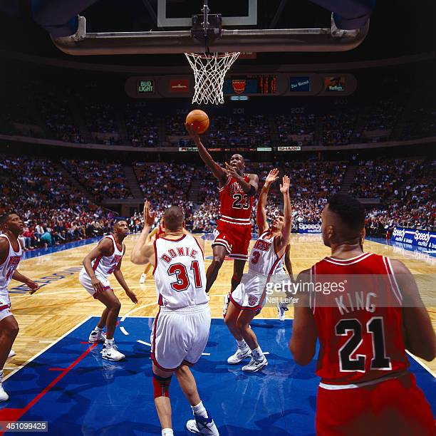 Chicago Bulls Michael Jordan in action vs New Jersey Nets at Brendan Byrne Arena East Rutherford NJ CREDIT Neil Leifer