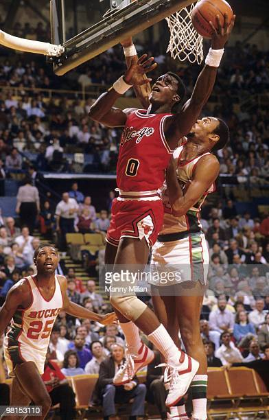 Chicago Bulls Orlando Woolridge in action vs Milwaukee Bucks Alton Lister Milwaukee WI CREDIT Manny Millan