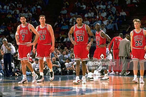 Chicago Bulls Toni Kukoc Luc Longley Scottie Pippen Michael Jordan and Steve Kerr on court during game vs Houston Rockets Houston TX 1/30/1996 CREDIT...