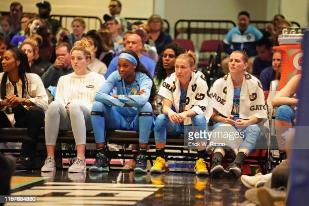 Chicago Sky Chloe Jackson Katie Lou Samuelson Diamond DeShields Courtney Vandersloot and Allie Quigley on bench during game vs New York Liberty at...