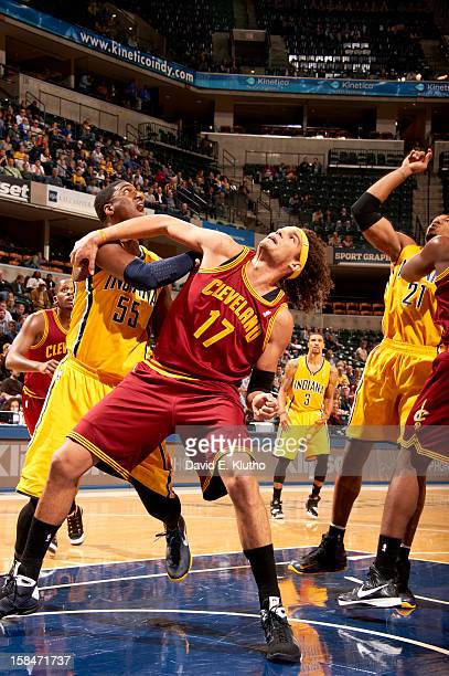 Cleveland Cavaliers Anderson Varejao in action box out vs Indiana Pacers Roy Hibbert at Bankers Life Fieldhouse Indianapolis IN CREDIT David E Klutho