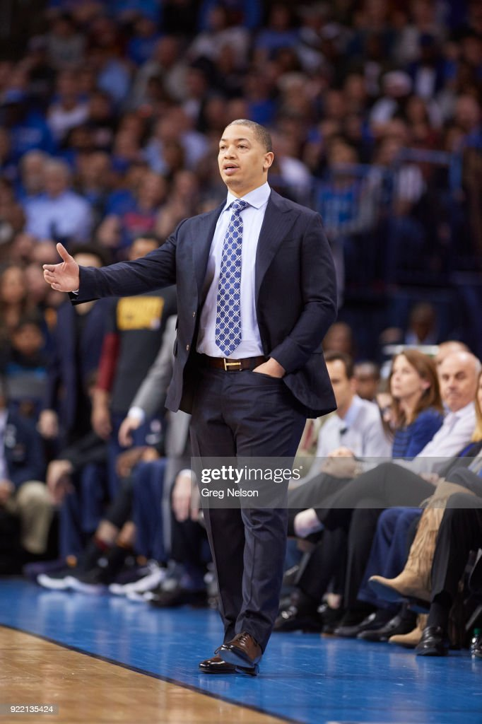 Cleveland Cavaliers coach Tyronn Lue on sidelines during game vs Oklahoma City Thunder at Chesapeake Energy Arena. Greg Nelson TK1 )