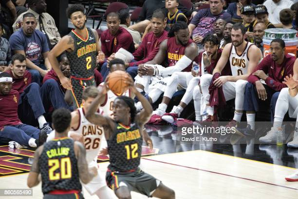 Cleveland Cavaliers Isaiah Thomas Walter Tavares Jae Crowder Derrick Rose Kevin Love and Channing Frye look on from bench as Atlanta Hawks Taurean...