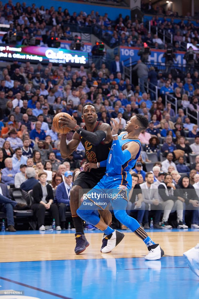 Cleveland Cavaliers Jeff Green (32) in action vs Oklahoma City Thunder Russell Westbrook (0) at Chesapeake Energy Arena. Greg Nelson TK1 )