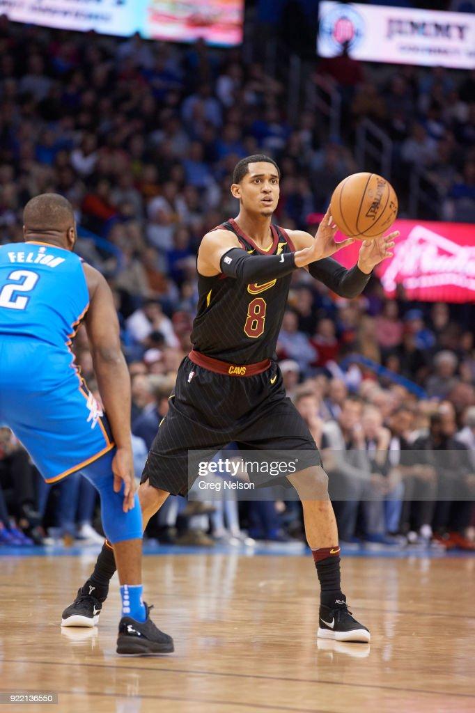 Cleveland Cavaliers Jordan Clarkson (8) in action, passing vs Oklahoma City Thunder at Chesapeake Energy Arena. Greg Nelson TK1 )