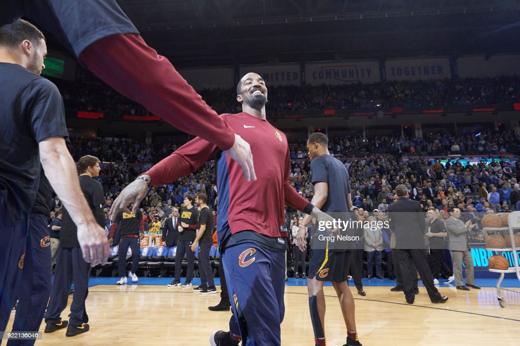 Cleveland Cavaliers JR Smith (5) during introductions before game vs Oklahoma City Thunder at Chesapeake Energy Arena. Greg Nelson TK1 )