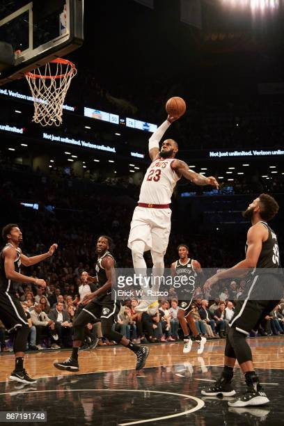 Cleveland Cavaliers LeBron James in action dunking vs Brooklyn Nets at Barclays Center Brooklyn NY CREDIT Erick W Rasco