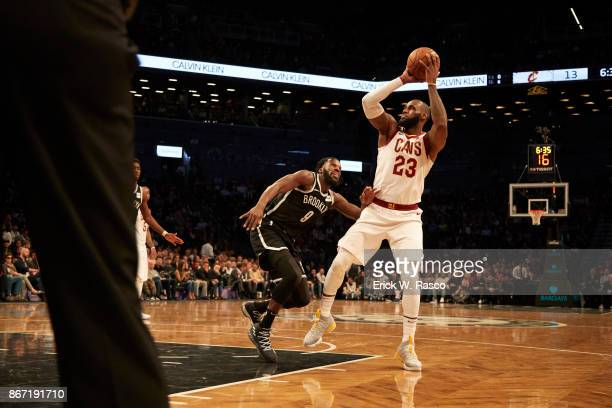 Cleveland Cavaliers LeBron James in action vs Brooklyn Nets Demarre Carroll at Barclays Center Brooklyn NY CREDIT Erick W Rasco