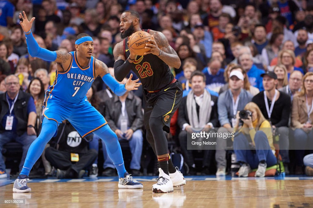 Cleveland Cavaliers LeBron James (23) in action vs Oklahoma City Thunder Carmelo Anthony (7) at Chesapeake Energy Arena. Greg Nelson TK1 )
