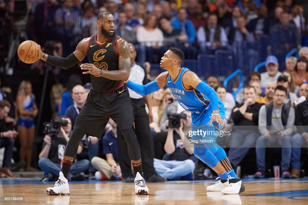 Cleveland Cavaliers LeBron James (23) in action vs Oklahoma City Thunder Russell Westbrook (0) at Chesapeake Energy Arena. Greg Nelson TK1 )