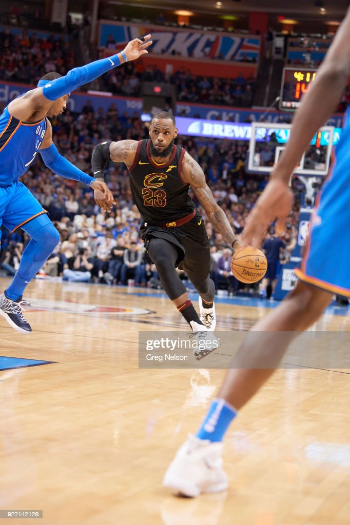 Cleveland Cavaliers LeBron James (23) in action vs Oklahoma City Thunder at Chesapeake Energy Arena. Greg Nelson TK1 )