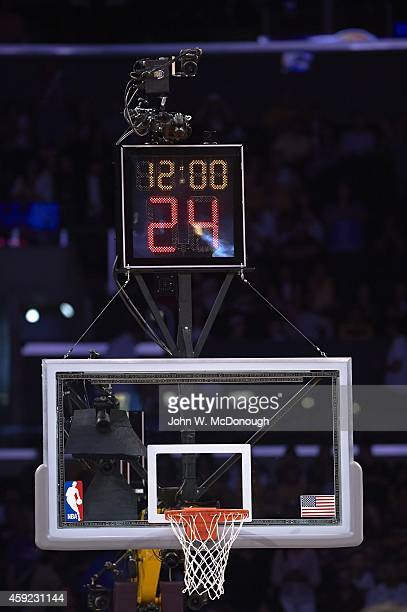 Closeup of basket and shot clock before Oklahoma City Thunder vs Los Angeles Lakers game at Staples Center Equipment Los Angeles CA CREDIT John W...