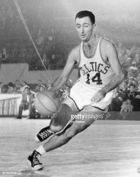 Basketball Closeup of Boston Celtics Bob Cousy in action vs Fort Wayne Pistons Boston MA