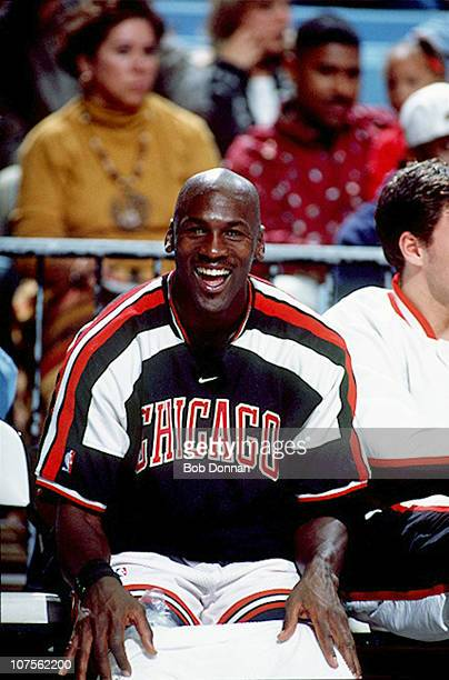 Closeup of Chicago Bulls Michael Jordan on bench during preseason game vs Philadelphia 76ers at Dean Smith CenterChapel Hill NC CREDIT Bob Donnan