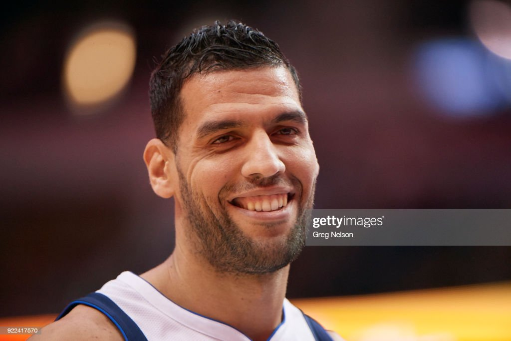 Closeup of Dallas Mavericks Salah Mejri (50) before game vs Los Angeles Lakers at American Airlines Center. Greg Nelson TK1 )